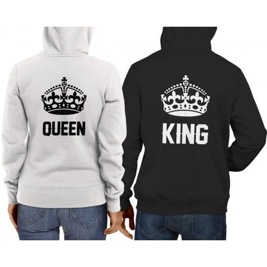 King-Queen Páros Pulcsi fekete fehér 443a3dd453
