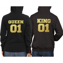 King01Queen01 fekete gold pulcsi